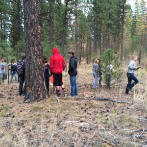 Students touring the Defrees Ranch